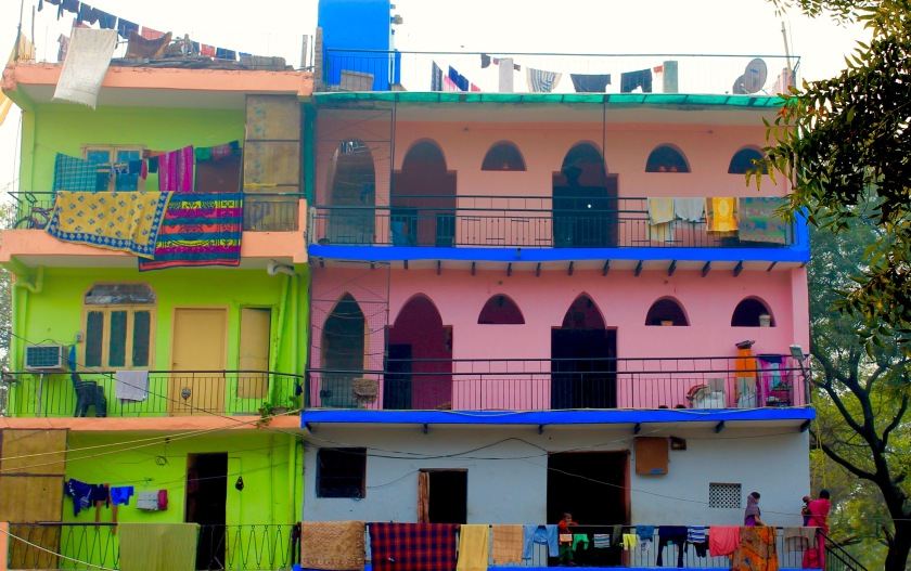 colourful indian houses delhi