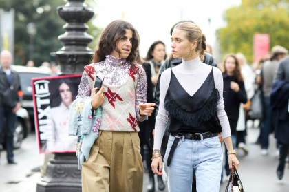 Street style, Leandra Medine and Pernille Teisbaek arriving at Chanel Spring Summer 2016 show held at Grand Palais, in Paris, France, on October 6th, 2015. Photo by Marie-Paola Bertrand-Hillion/ABACAPRESS.COM